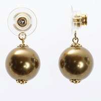 Chrysmela Infinity Earring Jacket With Swarovski Crystal Pearls Antique Brass Gold