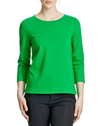 424 Fifth Petite Ponte Dolphin Hem Tee Leafy Green
