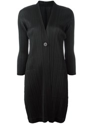 Issey Miyake Pleats Please By Pleated V Neck Coat Black
