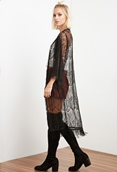 Forever 21 The Allflower Eyelash Lace Kimono Black