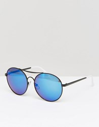 Jeepers Peepers Aviator Sunglasses With Blue Lens Black