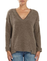 Three Dots Frayed Trimmed V Neck Sweater Brown