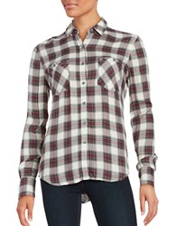 True Religion Cotton Plaid Shirt Pink Black Plaid