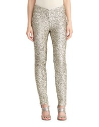 Lauren Ralph Lauren Sequined Skinny Pants Pewter