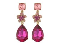 Oscar De La Renta Flower Drop Pave P Earrings Fuchsia Earring Pink
