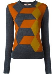 Marni Angular Chevron Pattern Jumper Grey
