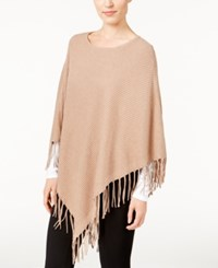 Jm Collection Ribbed Fringe Poncho Only At Macy's Acorn Heather