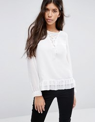 Qed London Lace Up Blouse Ivory Cream