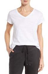 Eileen Fisher Women's Organic Cotton V Neck Tee White