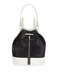 Elizabeth And James Cynnie Perforated Leather Drawstring Backpack Black White