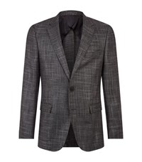 Boss Boucle Wool Jacket Male Dark Grey