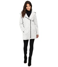 Jessica Simpson Asymmetrical Zip Sweater Softshell Grey White Women's Coat Gray