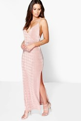Boohoo Strappy Drape Front Thigh Split Maxi Dress Rose