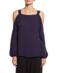 Elie Tahari Lindy Lace Trim Cold Shoulder Silk Blouse Deep Amethyst