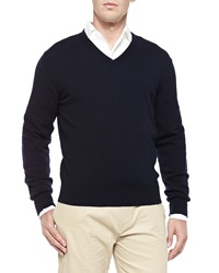 Loro Piana Baby Cashmere V Neck Sweater Blue Navy