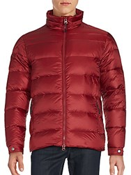 Saks Fifth Avenue Quilted Zipper Jacket Burgundy