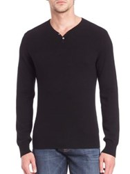Saks Fifth Avenue Wool And Cashmere Henley Sweater Black Dark Turq
