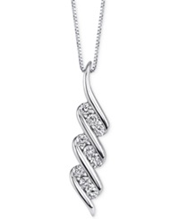 Sirena Diamond Swirl Pendant Necklace 1 3 Ct. T.W. In 14K White Gold