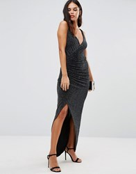 Honor Gold Hallie Maxi Dress With Slit Black Silver