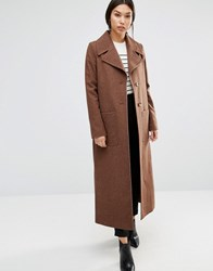 Cooper And Stollbrand Long Line Wool Trench In Camel Camel Beige