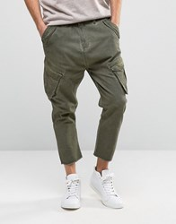 Asos Drop Crotch Cargo Trousers With Raw Hem In Washed Khaki Washed Khaki Green