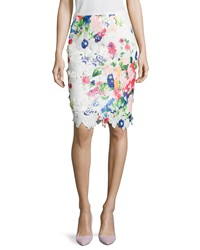 Neiman Marcus Floral Lace Pencil Skirt White Multi