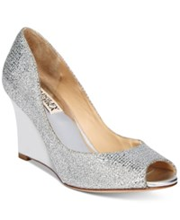Badgley Mischka Awake Evening Wedge Pumps Women's Shoes Silver