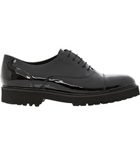Bertie Lace Up Ankle Brogues Black Leather