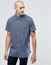 Barbour Shirt In Gingham Check Short Sleeves In Tailored Slim Fit Navy