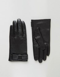 Asos Leather Bow Gloves With Touch Screen Black