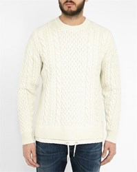 Diesel White Pigris Large Cable Knit Sweater With Drawcord