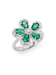 Effy Final Call Diamond Emerald And 14K White Gold Flower Ring Green