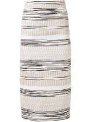 Christian Siriano Woven Stripe Skirt Nude And Neutrals