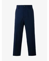 Gucci Wool Mohair Blend Cropped Trousers Blue Denim