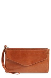 Hobo 'Lanie' Leather Wristlet Brown Henna