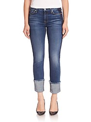 7 For All Mankind Fashion Boyfriend Cuffed Jeans With Shadow Tux Stripe Medium Shadow Blue 2