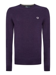 Fred Perry Classic Crew Neck Jumper Dark Purple