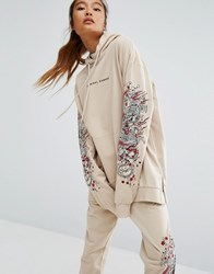 Criminal Damage Oversized Hoodie With Arm Embroidery Co Ord Nude Beige