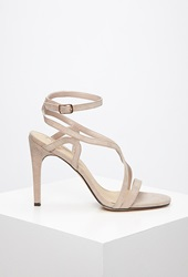Forever 21 Curved Strap Stiletto Sandals Taupe
