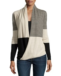 Max Studio Striped Wrap Front Long Sleeve Sweater Black Bone