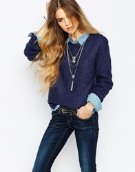 Blend She Noelle Loose Knit Jumper Blue