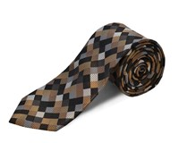 Double Two Polyester Square Tie Brown