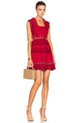 Self Portrait Tiered Peplum Lace Dress In Red