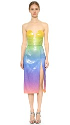 Cushnie Et Ochs Sequin Strapless Dress Tropical Ombre