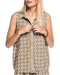 Scotch And Soda Tile Print Sleeveless Shirt Multi Print