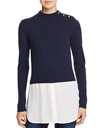 Aqua Cashmere Shirttail Sweater Navy White