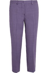 Miu Miu Cropped Checked Wool Straight Leg Pants Purple