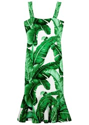 Dolce And Gabbana Palm Tree Print Peplum Silk Dress Green