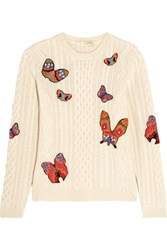 Valentino Embroidered Cable Knit Alpaca And Yak Blend Sweater Ivory