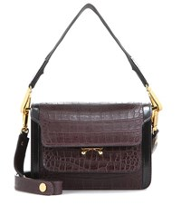 Marni Mini Trunk Embossed Leather Handbag Brown